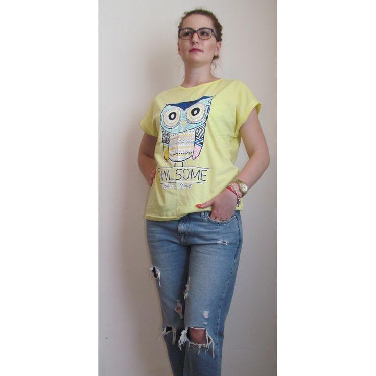 Tricou dama Owlsome Yellow
