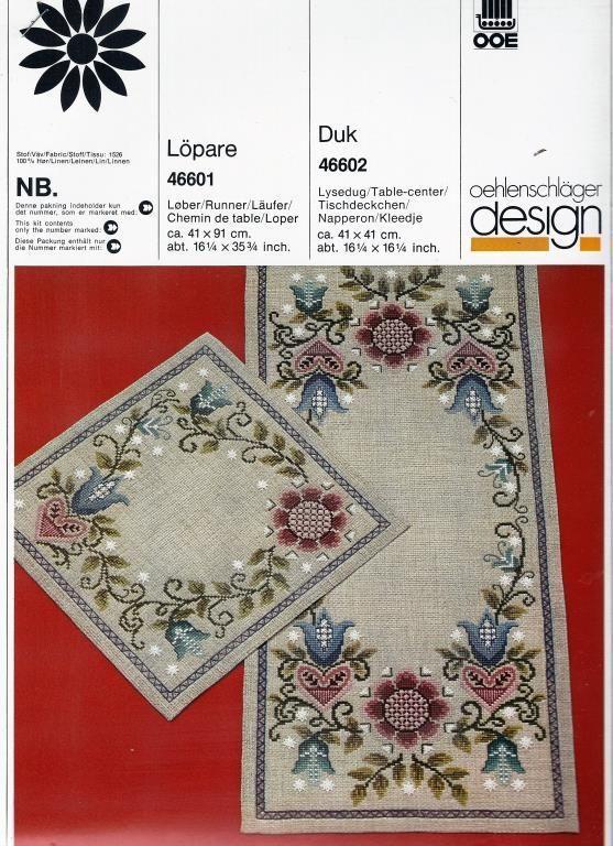 OOE mönster Brodera vacker Löpare och Duk med blommor på Tradera.com -