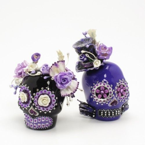 Skull Lover Purple Black Gothic Wedding Cake Topper