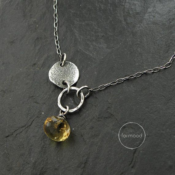 Handmade necklace is made of sterling silver 925 and citrine  Dimensions: Chain 16.54 + 2.36  extender (42cm + 6 cm extender) Stones: 0.35 (9mm)  In our offer you can find earrings and bracelet to the set (picture no.5)  Here you can see our archival works from this collection (its possible to make them again for special request): https://web.facebook.com/formood/photos/a.159142094211694.32464.118654118260492/330782077047694/?type=3&theater  Ready to ship  We pack all the items in corporate…