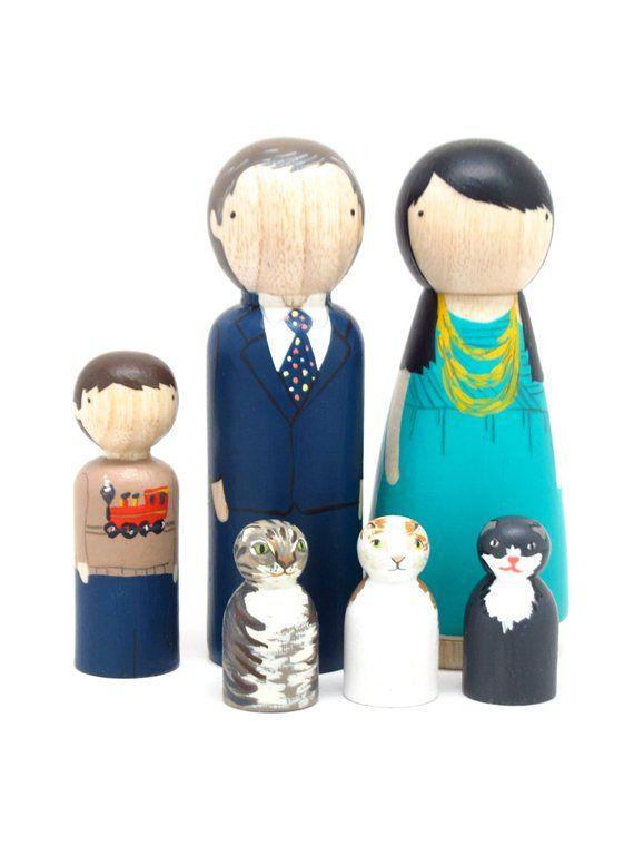 Custom Family Portrait of 6 HandPainted Wooden Dolls Peg