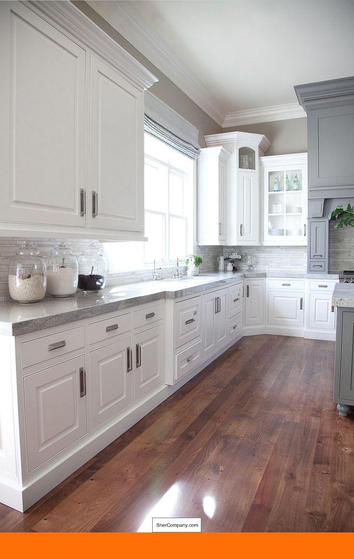 What Color Granite With White Cabinets And Dark Wood Floors And Pics Of White Cabinets With C Kitchen Design White Kitchen Interior Transitional Kitchen Design