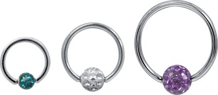 SURGICAL STEEL CRYSTAL BALL CLOSURE RING WITH GLOSS FINISH