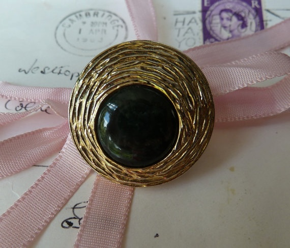 Gold and smokey black vintage button brooch by morethandivine, £5.00