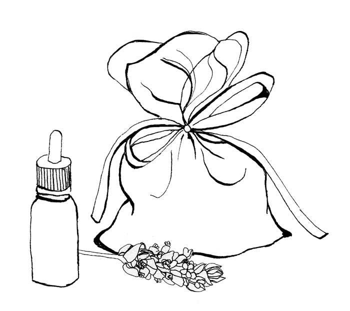 Lavender essential oil for pot pourri. Illustration by Cookoo Design & Photography
