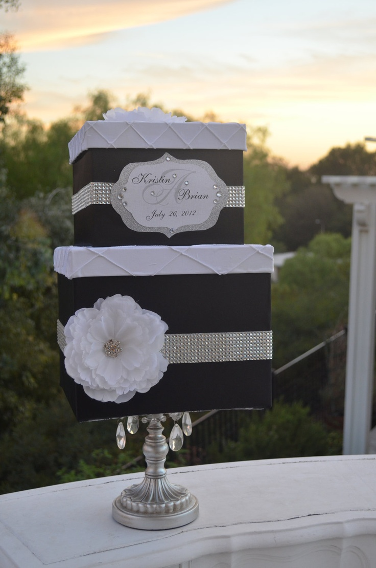 Satin wedding card box with royal blue flower and rhinestone mesh trim - Black And White Monogram Wedding Card Box White Pintuck Lids Black Satin And Rhinestones
