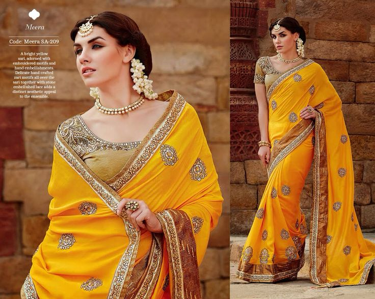 A bright yellow sari, adorned with embroidered motifs and hand embellishments. Delicate hand crafted zari motifs all over the sari together with stone embellished lace adds a distinct aesthetic appeal to the ensemble.