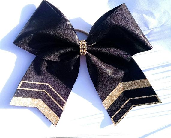 Gold and black cheer bow gold and black softball by CraftyOhBows