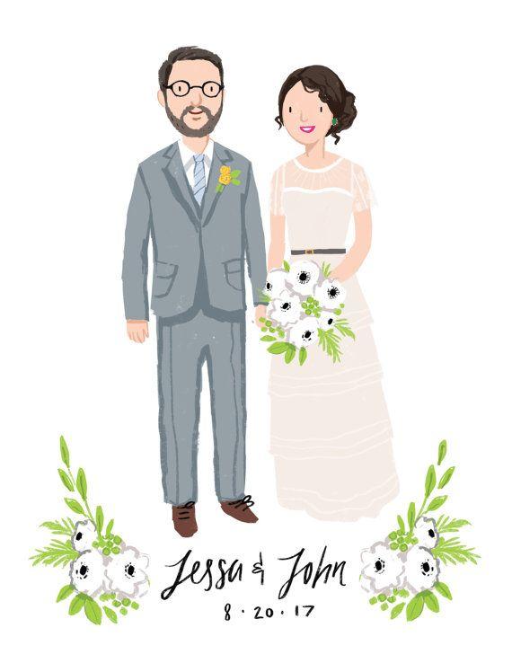 Custom Couple Wedding Portrait & Print by kathrynselbert on #Etsy #etsyfind