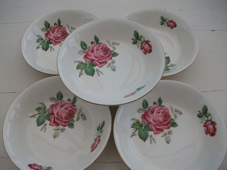 Vintage Alfred Meakin Pink Rose Dessert Bowls x 5 - Gilt Edge - Circa 1960's #EnglishCountry