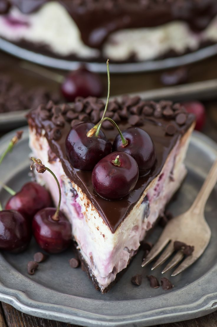 Fresh chocolate cherry cheesecake recipe with a chocolate crust, fresh cherries…
