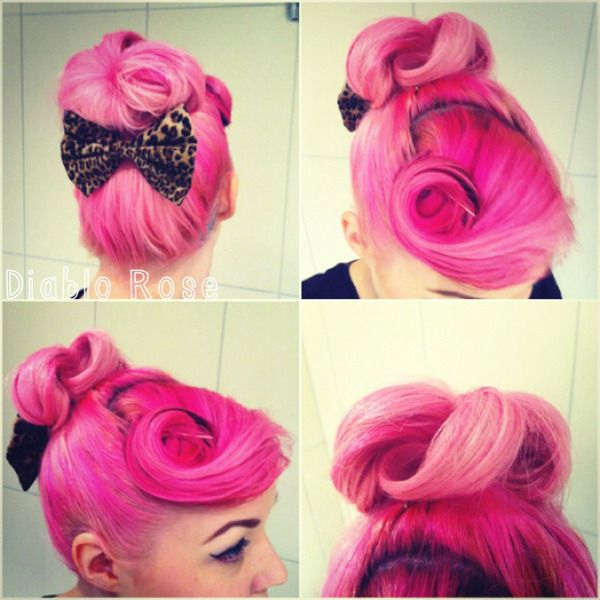 Bright pink pin curl bun