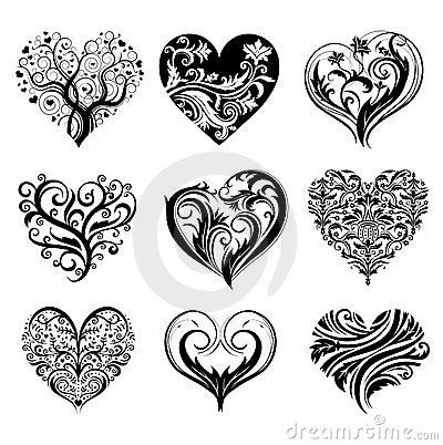 scroll hearts | Tattoo Hearts Royalty Free Stock Photo - Image: 14932865