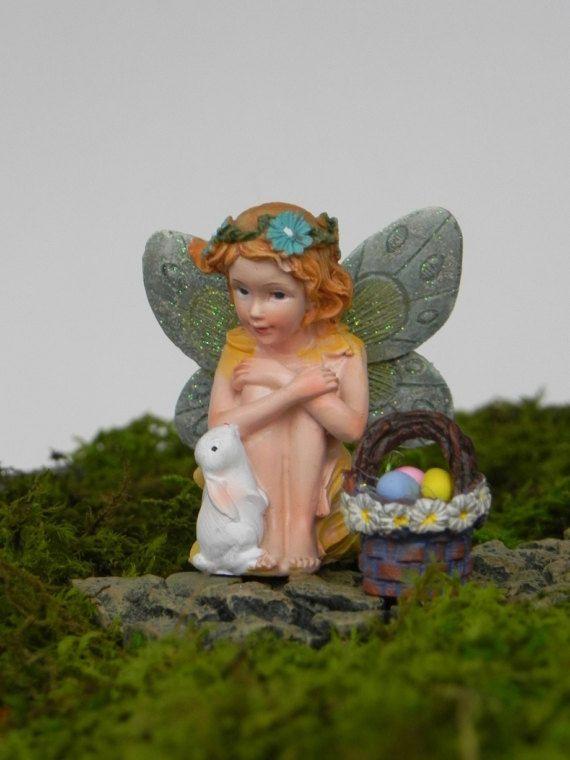 Easter Fairy, miniature fairy figurine, miniature Easter bunny, miniature easter basket with easter eggs, fairy garden accessories, supply