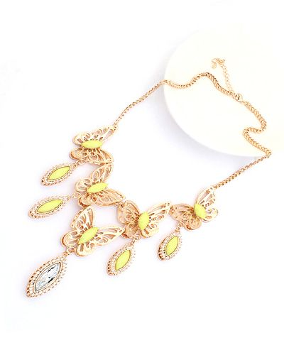 Metal Butterfly Yellow Drop Gemstone Pendant Chain Necklace AC0020148-5