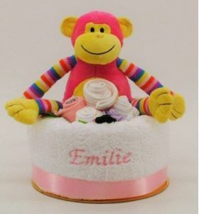 Newborn Embroidered Nappy Cake Girl Monkey, Embroidered Nappy Cakes | embroidered baby gifts | personalised baby gifts | personalised gifts for baby | personalised baby gifts Australia
