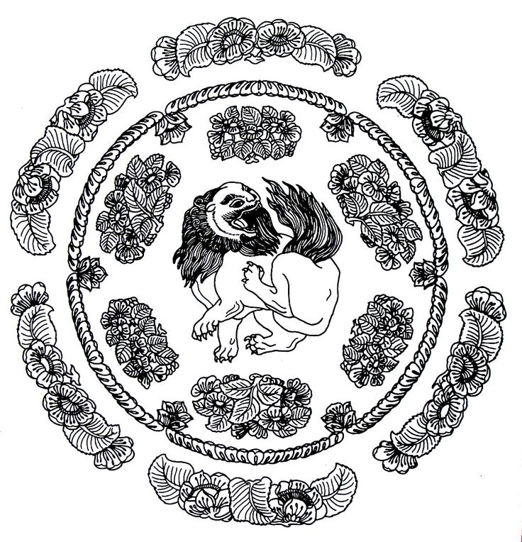medallion  lion design  chinese design coloring book