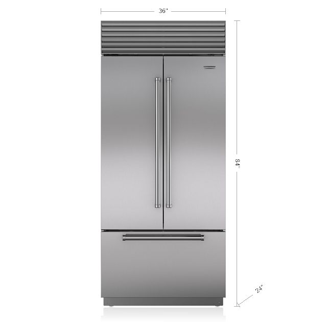 "Sub-Zero 36"" Built-In French door Refrigerator/Freezer BI-36UFD/S All subzero models have cad files as well"