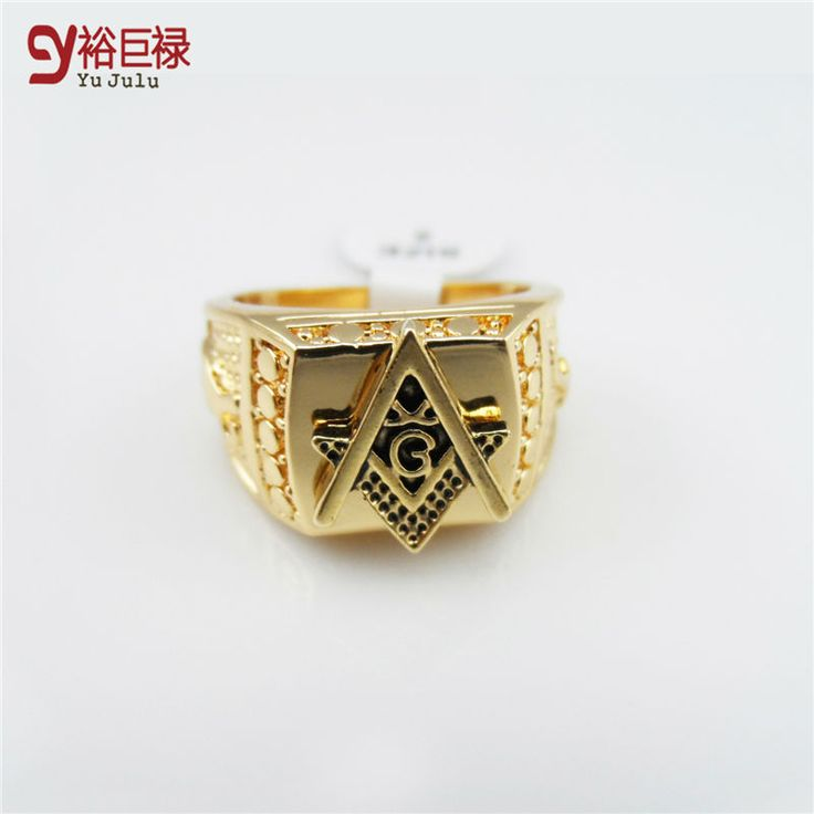 2016 Men 24k Gold Plated Hip Hop Ring Golden Medusa Masonic Rings Punk Rock  Jewelry Anillos