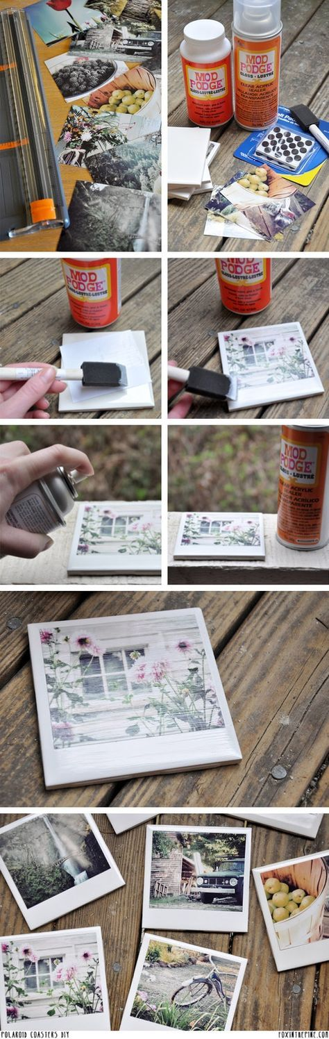 Polaroid Coasters DIY - try with pics from your town or maps