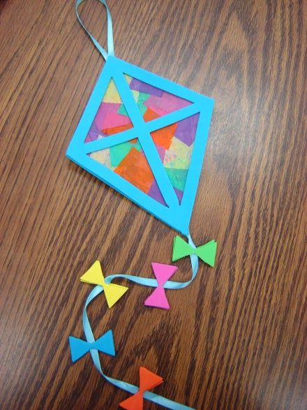 Spring Art Activities- kites with tissue paper