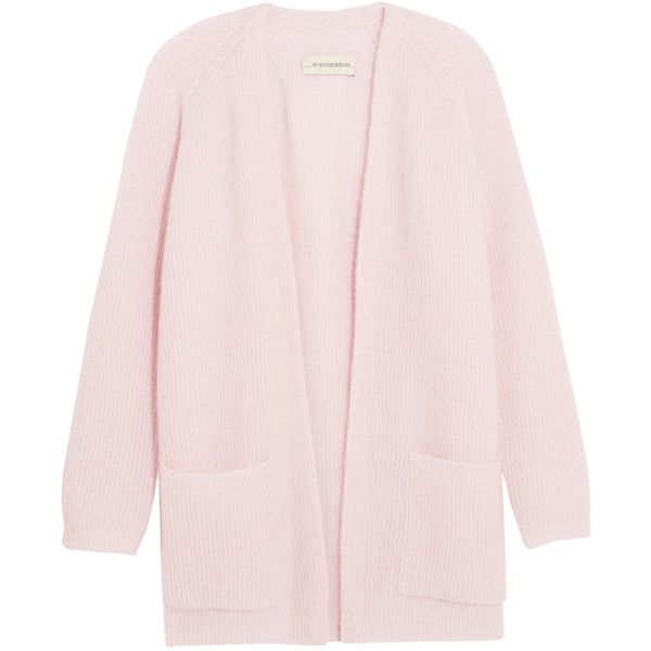 By Malene Birger Belinta brushed ribbed-knit cardigan (€135) ❤ liked on Polyvore featuring tops, cardigans, outerwear, jackets, sweaters, pastel pink, turtleneck top, pastel tops, oversized tops and pink tops