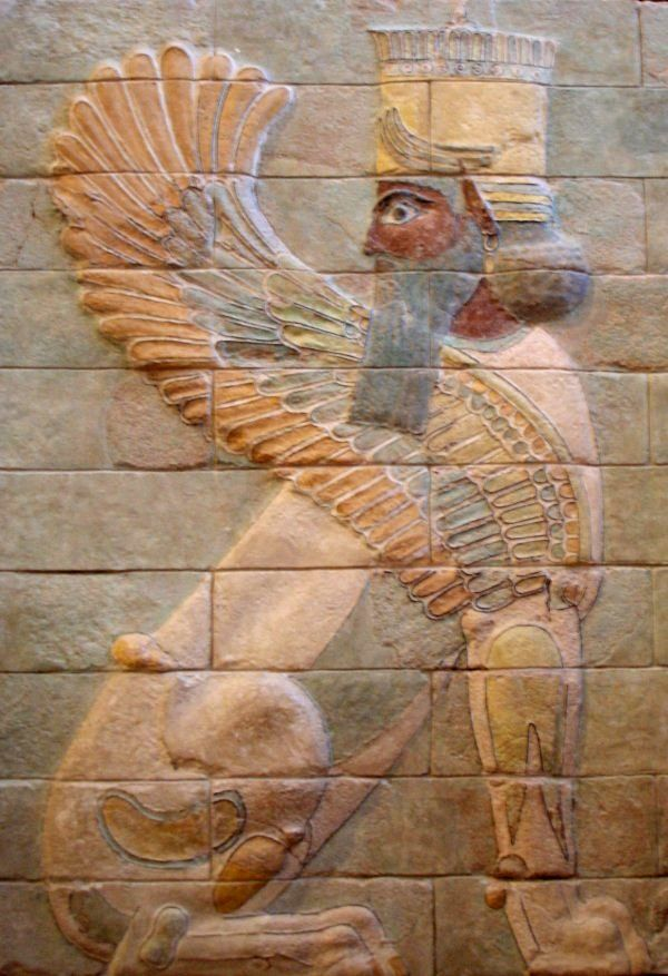 Ancient Middle East Map Mesopotamia%0A Winged sphinx from Darius u     palace at Susa  Silicious glazed bricks  ca  The  Biblical Daniel served King Darius