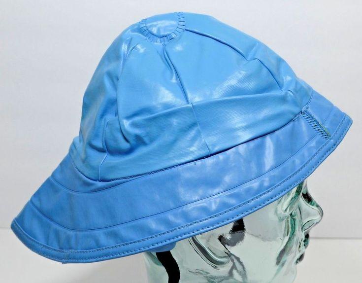 Blue Rain Slicker Hat Adult One Size Lined Cap Fishing #Unbranded #Slicker