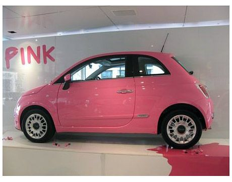 To celebrate Barbie's 50th birthday, the Fiat showroom on Wigmore Street in London varnished the Fiat 500 in her favorite pink nail polish.