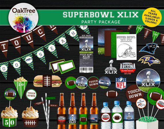 Super Bowl XLIX 2015 Party Package Set - Printable - DIY - Ticket Invitation Included - 16 Items - American Football - NFL - February 1st Paper Goods, Stationery, Set, Super, Bowl, Superbowl, XLIX, 2015, Football, NFL, Seahawks, Patriots, Packers, Broncos, Cowboys, Party