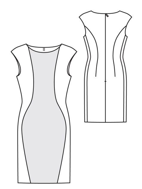 Dress sewing pattern available for download. Available in various sizes. This dress has a a cool futuristic style and a figure flattering silhouette. The curvy seam lines in the dress really stand out when sewn in contrasting fabrics. This dress can easily be worn to the office with a blazer, and then out at night with a sleek pair of heels and a great necklace.