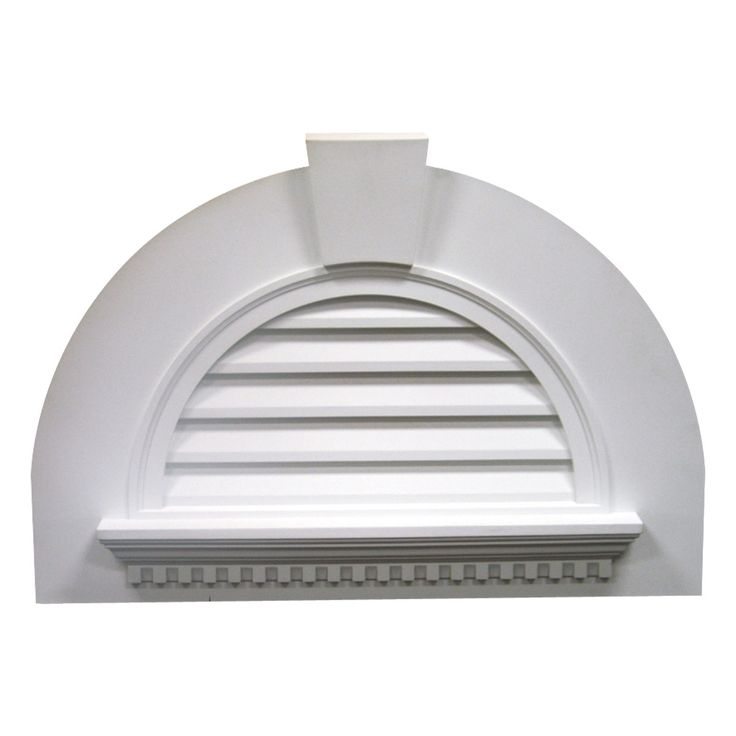 41 5 8 inch w x 29 inch h half round louver with crosshead for Exterior keystone molding