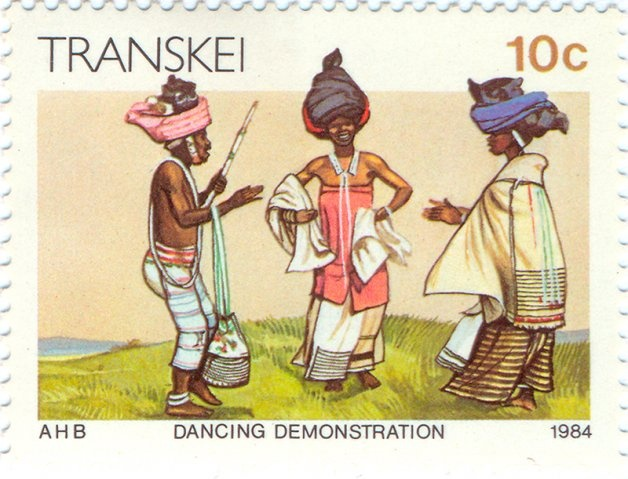 1984 Transkei  -  Three dancers of the Xhosa tribe