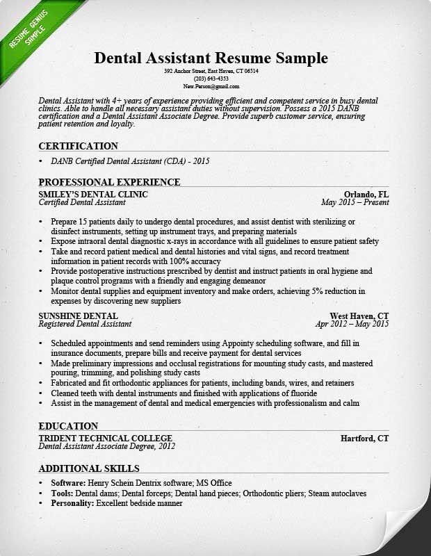 Dental Assistant Resume Sample Dentist Resume Medical Assistant Resume Dental Hygiene Resume