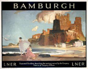 Bamburgh Castle, Northumberland Railway Travel Poster Print by LNER