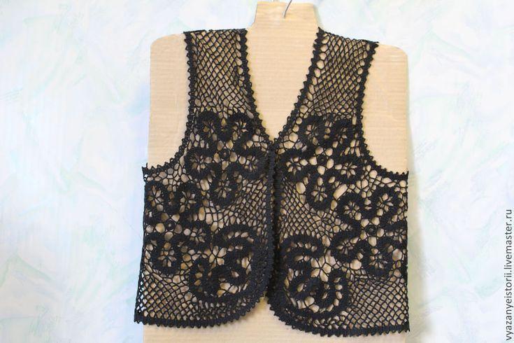 Купить Черный кружевной жилет.ПРОДАНО - черный, рисунок, Вязание крючком, вязание на заказ, жилетка