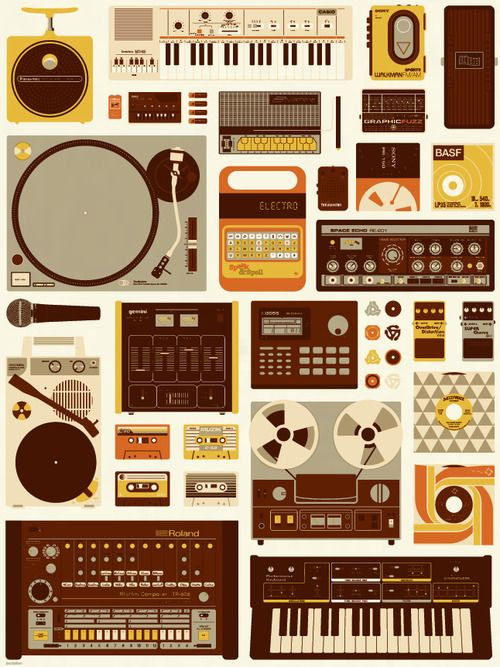 Tools of the Trade Print by Mike Davis  Orange, brown, and yellow is a way underrated color scheme. Also awesome, but not underrated, are the Roland TR-808, the Korg Monotron, the Speak & Spell, and a whole lot more. They're all present in this classy print from Mike Davis. Grab it for $25 on Burlesque Design.  Buy: KORG DS-10 Synthesizer