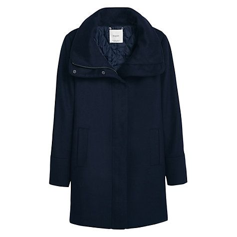 Buy Mango Cotton Cashmere Blend Coat, Navy Online at johnlewis.com