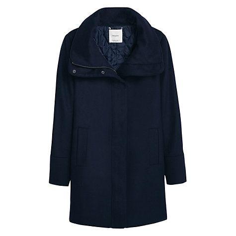 Buy Mango Cotton Cashmere Blend Coat, Navy Online at johnlewis.com
