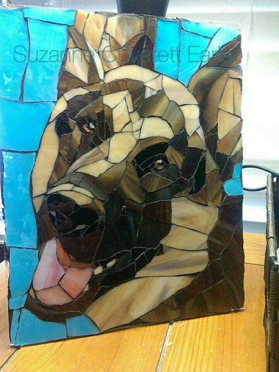 Teal Brown German Shepherd Portrait Mosaic by Suzanne Coverett Earls https://www.etsy.com/listing/216537414/chopper-8x10-custom-glass-mosaic