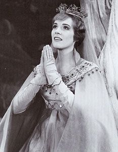 Julie Andrews in Camelot on Broadway...this is where Walt Disney first saw her perform and asked her to star in Mary Poppins (at the time...she was about to go on maternity leave, so Mr. Disney postponed the shooting until after she had given birth so she could be in it.)