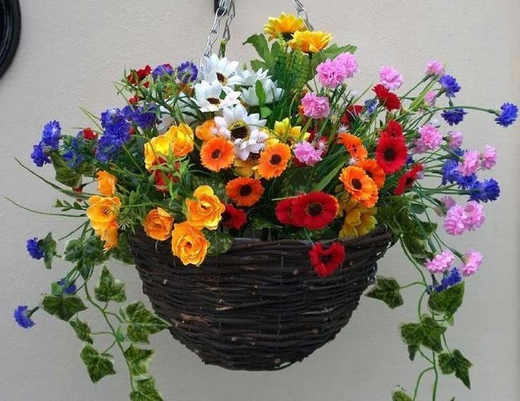 Artificial Hanging Basket Made Of Twigs With Wild Flowers In Red Orange  Yellow Pink Purple And