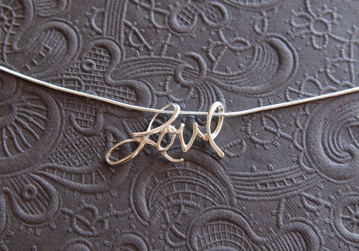 Cursive+love+pendant+necklace+in+sterling+by+jersey608jewelry,+$36.00