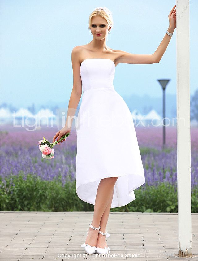 Lanting Bride® A-line / Princess Petite / Plus Sizes Wedding Dress - Chic & Modern / Reception Little White Dresses Asymmetrical Strapless 2016 - $59.99