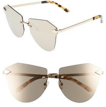 Women's Karen Walker Dancer 58Mm Rimless Mirrored Lens Sunglasses - Crazy Tortoise/ Gold/ Mirror