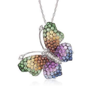 2.30 ct. t.w. Multicolored Sapphire and .12 ct. t.w. Diamond Butterfly Necklace in 14kt White Gold. >>Click on the Butterfly Necklace to see more styles like this at Ross-Simons.