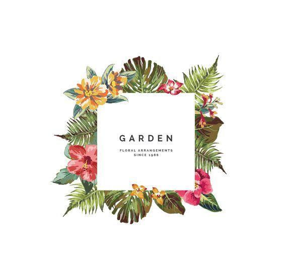 awesome Logo personnalisable épuré fleuri / Pre-made Logo Flowers tropical