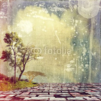 Surreal colorful landscape with tree