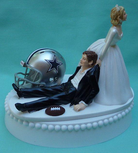 Wedding Cake Topper Dallas Cowboys Football Themed w/ Garter, Display Box on Etsy, $59.99