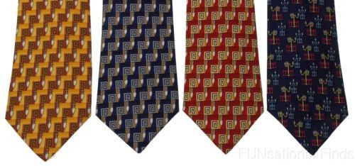 Lot 4 Olimpo 100% Silk Neck Ties Street Light Red Blue Gold Mens Business Dress